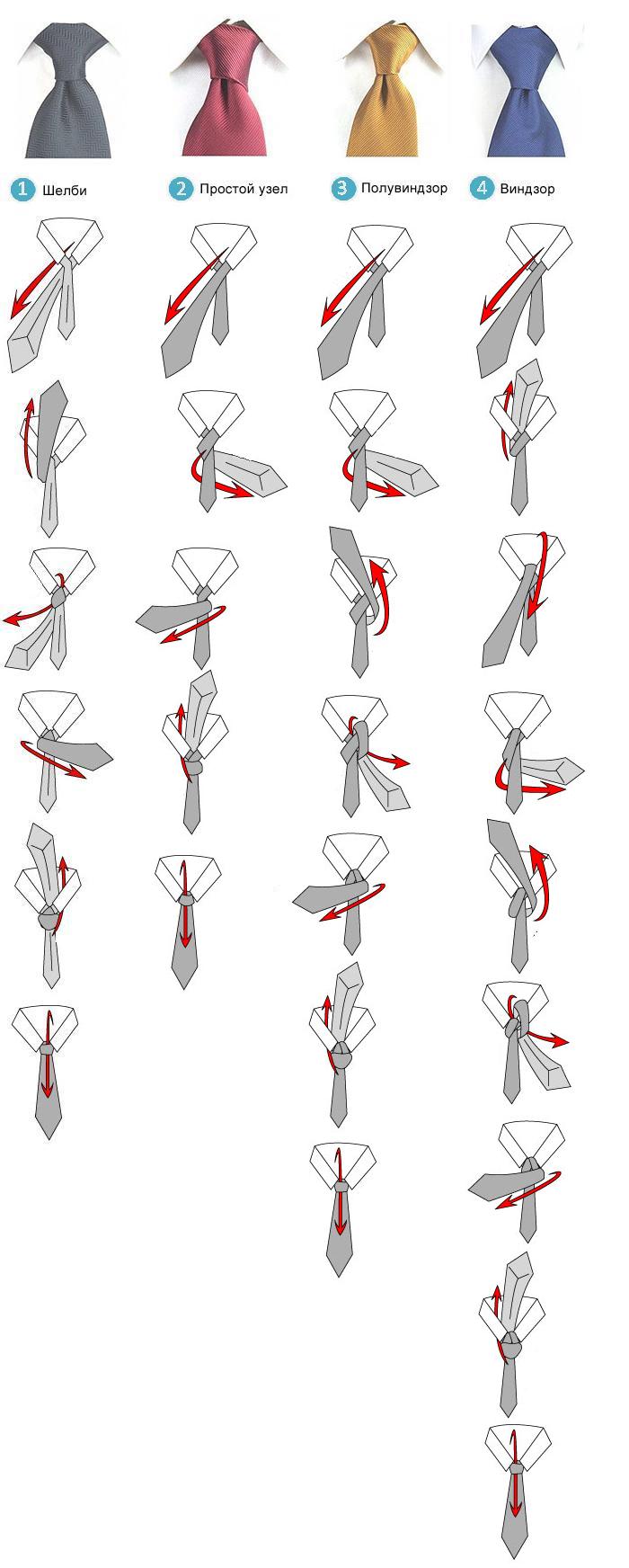 Как завязывать галстук инструкция пошагово